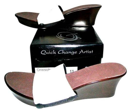 Onesole Quick Change Artist Cafe Interchangeable Brown Wedges