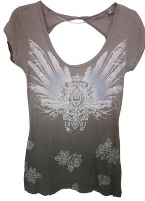 Preload https://img-static.tradesy.com/item/40937/guess-blended-tan-to-dark-green-twisted-back-with-ornate-design-tee-shirt-size-8-m-0-0-650-650.jpg