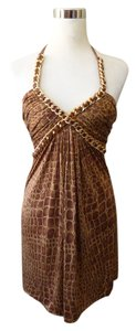 Sky Animal Print Gold Chain Dress
