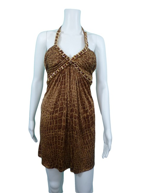 Sky Animal Print Gold Chain Leather Halter Dress