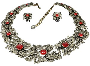 Heidi Daus Heidi Daus The Garland of Pave Necklace & Earring Set SWAROVSKI RARE RED SIAM BRAND NEW!!!