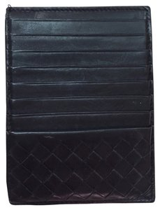Bottega Veneta 100% Authentic Bottega Veneta Black Leather Wallet Cardholder Coin