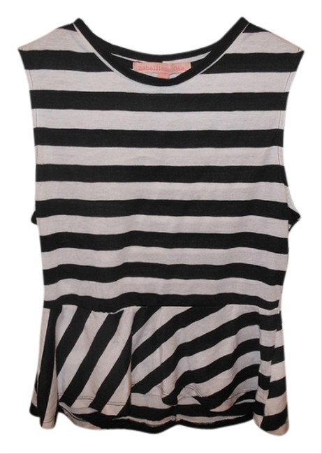 Rebellious One Front Tag Striped Top Black and White