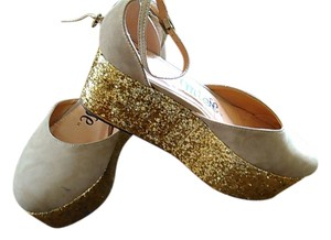 Other Fun Funky tan with gold glitter heel Platforms