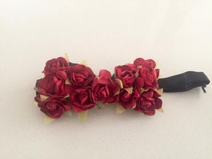 Red Rose Covered Bow Tie