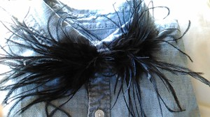 Black Ostrich Feather Bow Tie