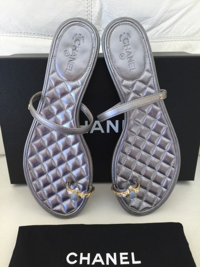 Chanel Toe Ring Flat Exclusive Silver Sandals