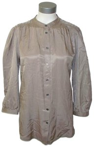 Burberry Button Front Silk Blouse Tunic