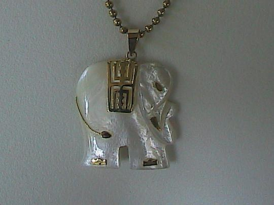 Other 14k Yellow Gold Mother of Pearl Hoop Earrings & Elephant Necklace