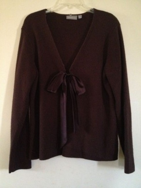Croft & Barrow Brown sweater with fur collar Jacket