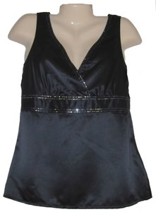 New York & Company Satin V Neck Sleeveless Sequin Size 10 With Tags Top Black