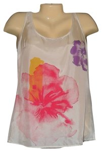 New York & Company Pink Purple Floral Silk Top White