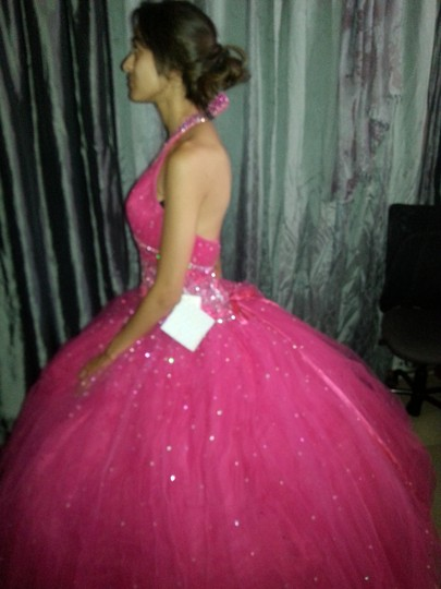 Hot Pink Beading Organza Polyester Nylon Beauty Queen Or A Prom Princess. Feminine Dress Size 4 (S)