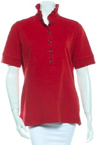 Burberry Polo Shirt Ruffle Button Down Shirt Red