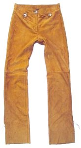 Dolce&Gabbana Goat Leather Tassels Bohemian Straight Pants Caramel
