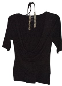 IZ Byer California Jeweled Banded Waist Halter Cowl Top Black