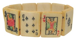 Vintage Ox Bone carved playing cards bracelet