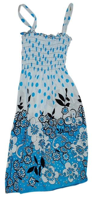 Beachcover short dress blue and white on Tradesy
