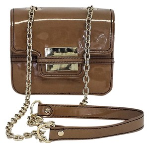 Zac Posen Taupe Patent Leather Cross Body Bag