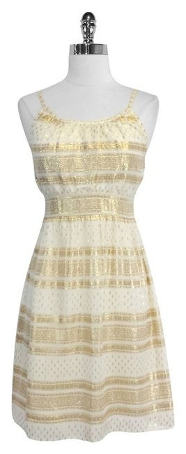 Preload https://item2.tradesy.com/images/beige-and-gold-print-silk-mid-length-short-casual-dress-size-8-m-4095856-0-0.jpg?width=400&height=650
