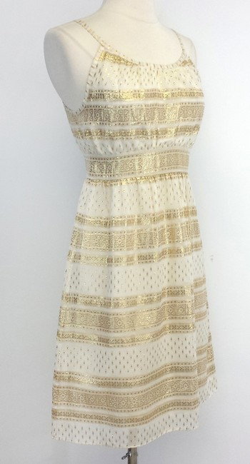 What Comes Around Goes Around short dress Beige Gold Print Silk on Tradesy