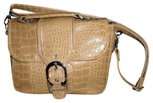 Emilie M Purse Detachable Straps Silvertone Hardware Pockets Faux Crocodile Satchel in Camel