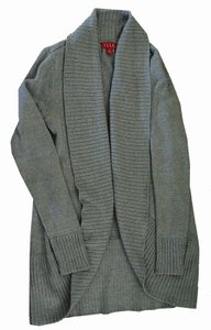 Elle Shawl Collar Cozy Open Cardigan Ribbed Collar And Cuffs Sweater