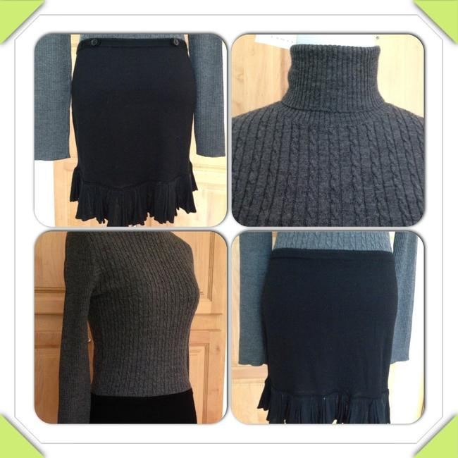 Iisli Wool Cable Knit Ruffles Fitted Faux Classy Boutique Petite Dress