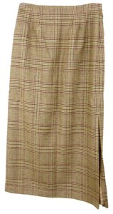 Amanda Smith Tweed Plaid Wool Straight Skirt Multi