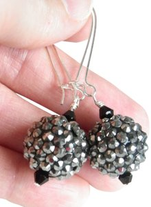 Handmade Grey Disco black crystal earrings