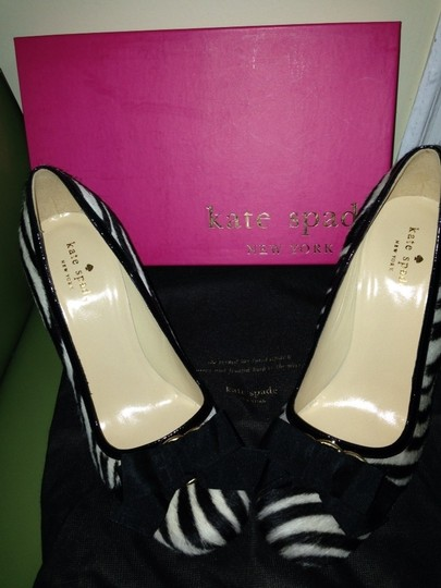 Kate Spade Black/cream zebra Hair Calf/ Black Paten Pumps