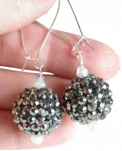 Grey Disco white crystal dangle earrings