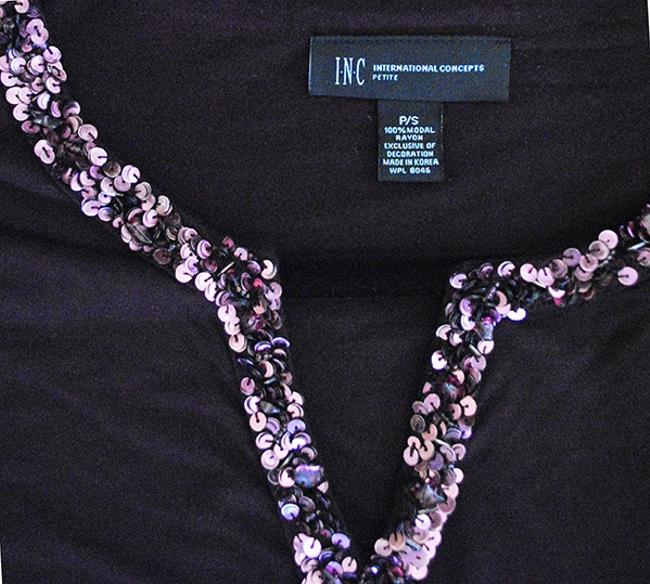 INC International Concepts Sequin Long Sleeve Longsleeve Fitted Sparkle Top deep purple