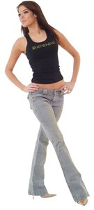Rouge Women's Ladies Flare Leg Jeans-Distressed