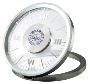 Desk Clock - Transparent Analog Face - Folding Round Aluminum Frame.