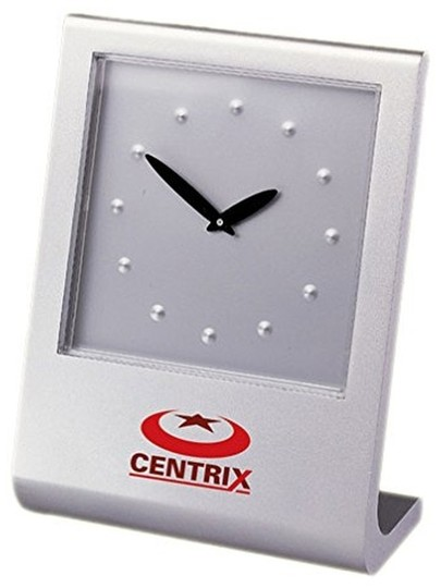 Closeoutservices Desk Clock - Paperweight, Abstract Analog Face In Cast Aluminum Frame.