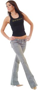 Rouge Womens Denim Ladies Denim 33 Inseam Denim Pinstripe Flare Leg Jeans-Distressed