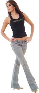 ROUGE Women Ladies Flare Leg Jeans-Distressed