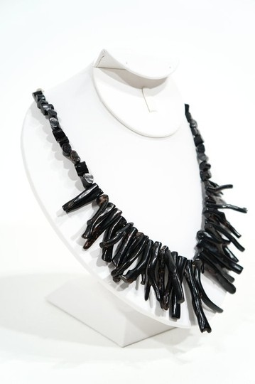 Other Vintage Natural Branch Black Coral & Sterling Silver Necklace
