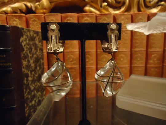 Norma Jean Lucite Silver Tone Vintage Norma Jean Earrings
