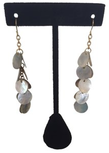 Grey/Mother of Pearl Shell Bead Dangle Earrings