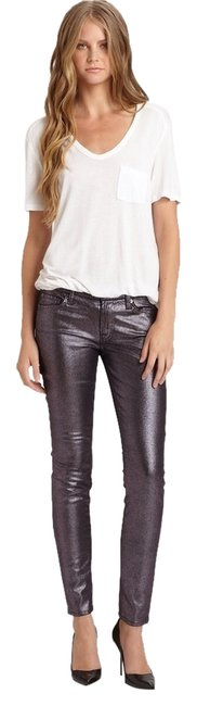 Item - Purple Coated The Metallic Skinny Jeans Size 26 (2, XS)