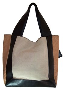 Allibelle Leather Tote in Black Beige Gold Allibelle Shopper