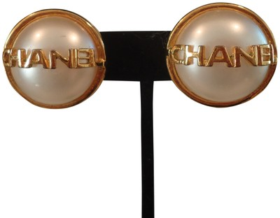 Chanel Vintage Chanel Logo Pearl Gold Tone Earrings Clip On
