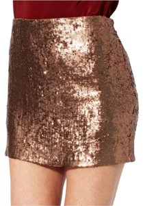 Haute Hippie Sequin Mini Mini Skirt Fawn