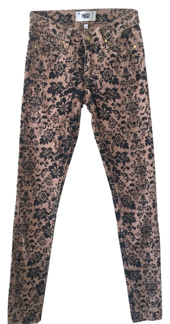 Item - Tan and Black Pattern Coated Skinny Jeans Size 24 (0, XS)