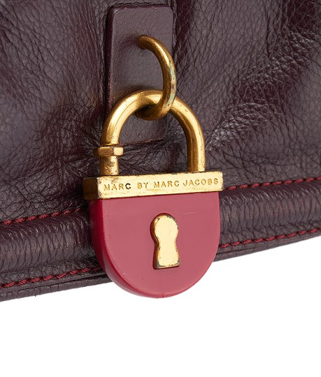 Marc by Marc Jacobs Purple Leather Gold Hardware Lock Shoulder Bag