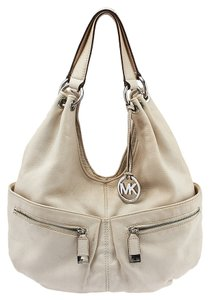 Michael by Michael Kors Silver Hardware Leather Hobo Bag