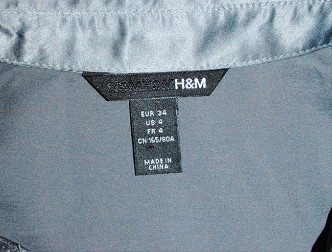 H&M Faux Silk Silver Holiday Fitted Short Sleeve Top pewter grey