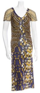 Just Cavalli short dress Navy, white, yellow Cap Sleeves Ruching on Tradesy